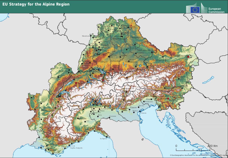 Mappa Eusalp imagefullwide Il Consiglio europeo approva la Macroregione alpina